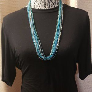Ocean Color Beaded Multiple Strands Necklace